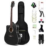 Vangoa 4/4 Guitarra para Zurdos 41 pulgadas Guitarra Electroacústica con Ecualizador de 4 Bandas, Kits Para Principiantes, Negro