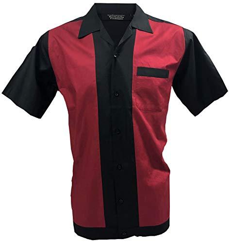 Rockabilly Fashions Camisa Casual Hombre Retro Bowling Collar Clásico Negro Rojo (3XL)