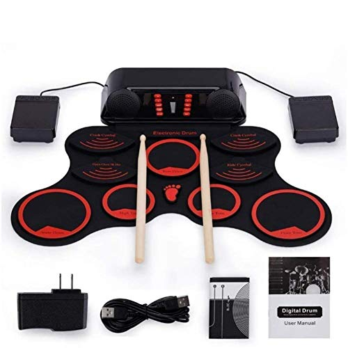 LSYOA Electronic Drum Kit, Portable Digital Electronic Roll Up Drum Set Drum Pedals Drumsticks Best Birthday for Kids,Red