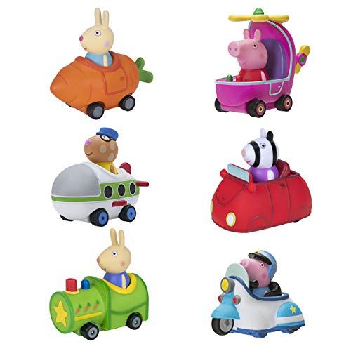 Peppa Pig Free-Wheelin' Friends Mini Buggies – 6 Pack Bundle, Peppa Helicopter, George Police Cruiser, Rebecca Rabbit Carrot, Richard Rabbit Train, Zoe Zebra Car, Pedro Pony Plane Buggy - Exclusive