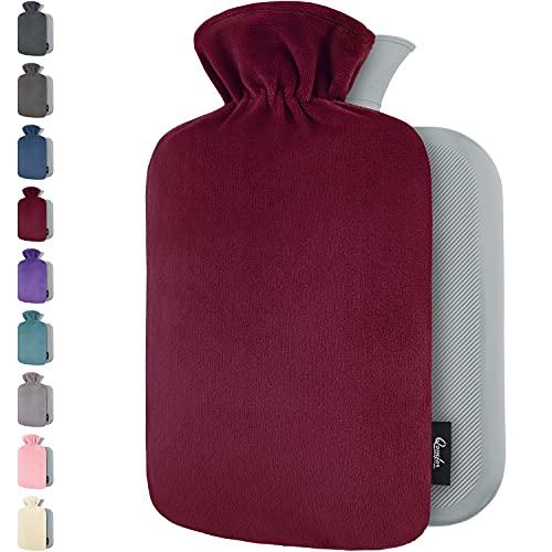 Wärmflasche mit Bezug – Weicher Premium Vliesbezug – 1,8l groß Wärmeflasche, Wärmflasche Kinder, Bettflasche für Erwachsene - Burgund