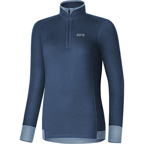 GORE WEAR Femme Maillot respirant à manches longues, M Thermo Shirt Light, 40, Bleu foncé, 100280