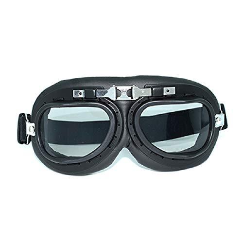 Gafas De Moto Vintage Gafas De Cuero Steampunk Ski Googles Gafas De Sol para Dirt Bike Cafe Racer Moto Casco Negro