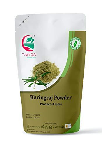 Yogi's Gift   Organic Bhringraj powder for hair growth   8 Oz (227 grams)   Eclipta alba   Karisalankanni   False daisy   Ayurvedic herbal hair powder