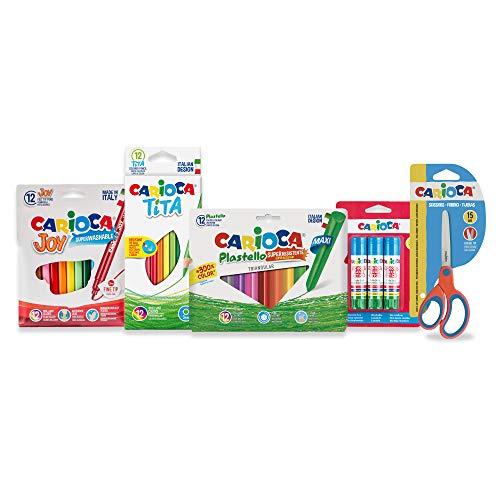 CARIOCA SET EASY SCHOOL | 53217 - Kit Cancelleria per la Scuola: Pennarelli, Matite, Plasticere, Colla e Forbice, 40 pezzi