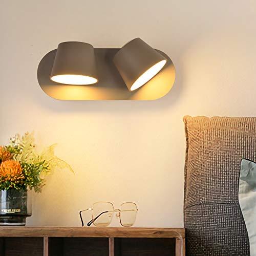Lampara de pared LED moderna de 14 W, 2 luces, Gris Oscuro nórdico ajustable Apliques de cabeza de montaje doble pantalla de aluminio, para interiores, dormitorios, salas de estar Iluminación