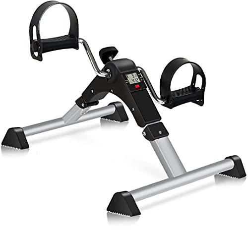 TABEKE Pedal Exerciser Under Desk Bike - Folding Pedal Exerciser for Arm/Leg Workout, Portable Desk Bike Peddler Exerciser with LCD Display