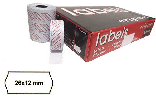 48.600 Etiquetas Onduladas 26x12 mm Permanentes Blancas