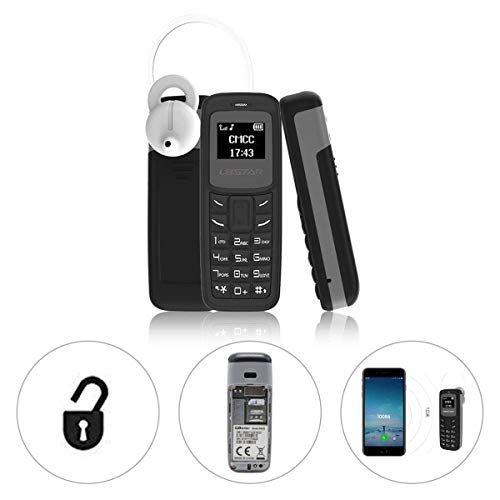 L8STAR BM30 Mini Phone Single SIM TF Card 0.66 inch Unlocked GSM Cellphone Wireless Headphone Bluetooth Dialer Headset Mobile Handset with Voice Changer Mp3 (Black)