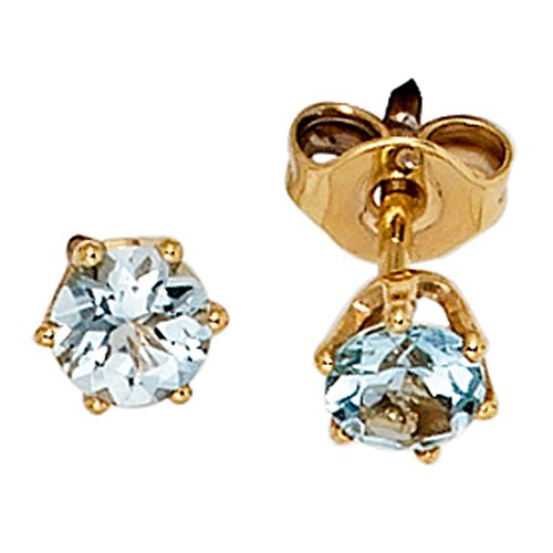 JOBO Ohrstecker 585 Gelbgold 2 Aquamarine Gold-Ohrringe