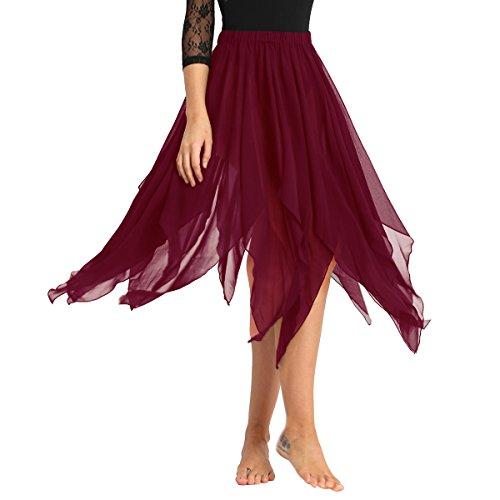 ranrann Asimétrica Falda de Ballet para Mujer Irregular Chifón Vestido de Danza del Vientre Cintura Elástica Falda de Latín Tango Flamenco Dancewear