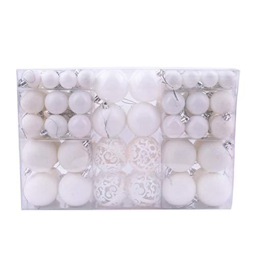 Bluesteer 100 Pz Ornamenti Palla di Natale Pallina Albero di Natale Pallina Appesa A Casa Vacanza Ricevimento di Nozze Ornamento Decor Fisso, Bianco
