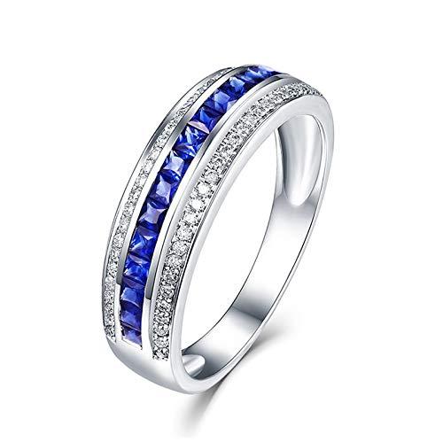 Aimsie Damen Ring, Trauring 0,8 Ct Paar Ring Mit Weißem Runden Diamanten Ehering Echt Gold 18 Karat (750) Weißgold Ehering 750 Ring Damen Verlobung Blau Silber 45 (14.3)