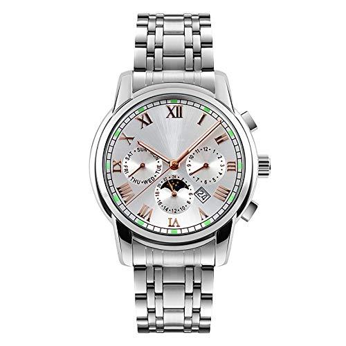 WJLED Reloj de Hombre con Banda de Acero, Reloj de Cuarzo, Material Impermeable de Acero Inoxidable, Reloj de Negocios de Moda,Plata