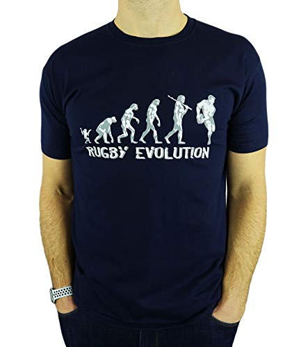 My Generation Gifts Rugby Evolution - Rugby Divertido del Regalo de cumpleaños/Presente para Hombre de la Camiseta Azul Marino L