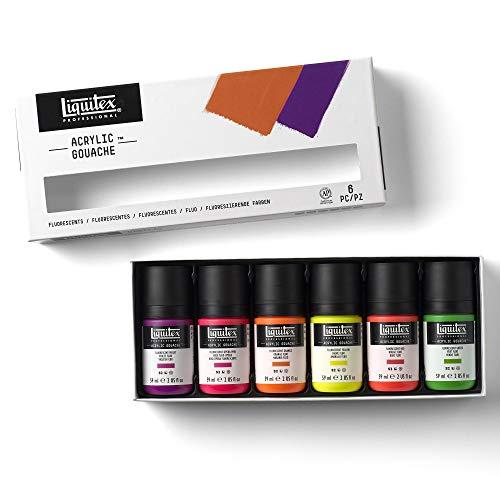 Liquitex Professional Gouache acrílico extrafino viscocidad baja, set colores fluorescentes 6 x 59 ml