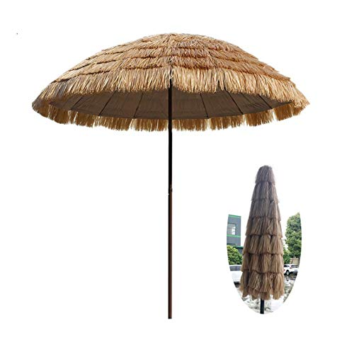 Sonnenschirm Hawaii Ø 200cm,Strandschirm Gartenschirm Balkonschirm strohschirm Sonnenschutz neigbar Outdoor Reise Camping Deck