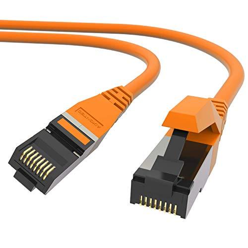 AIXONTEC 0,5 m Profi Netzwerk LAN Kabel Orange, Cat 7 S FTP LEONI Ethernet LAN DSL Daten Kabel, RJ 45 Stecker Patchkabel HIGH SPEED 10 Gigabit Router Power LAN Kabel