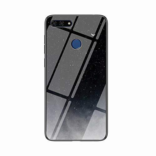 Miagon Glas Handyhülle für Huawei Y7 2018,Himmel Serie 9H Panzerglas Rückseite mit Weicher Silikon Rahmen Kratzresistent Bumper Hülle für Huawei Y7 2018,Schwarz