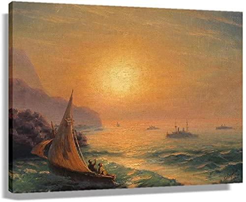 ZHANGFAN Der Sonnenuntergang auf dem Meer durch Poster Drucke Kunstdrucke Vintage Bilder Malerei Leinwand Panels Wanddekor Schlafzimmer Canvas Coloring (18x12 Zoll 45x30cmunFramed)