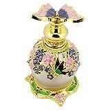 FRCOLOR Frascos de Perfume Retro de Lujo con Tapón de Mariposa Frascos de Perfume Recargables Vacíos Botellas Decorativas de 15 Ml para Perfumes Aceites Esenciales Púrpura
