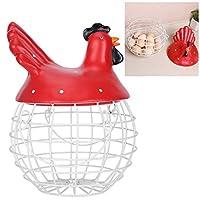 卵収納バスケット収納バスケット卵コレクション金属キッチン用品家の装飾(red)
