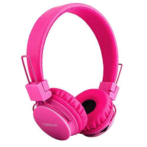 Termichy Cuffie Bluetooth Senza Fili per Bambini con Microfono + Controller Volume, Stereo Cuffie Auricolari Pieghevoli con condivisione Musica per Giochi Cellulari Smartphone Tablet PC (Rosa)