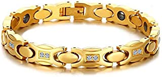 Women Gold Plated Magnetic Therapy Bracelet Gift with Zirconia