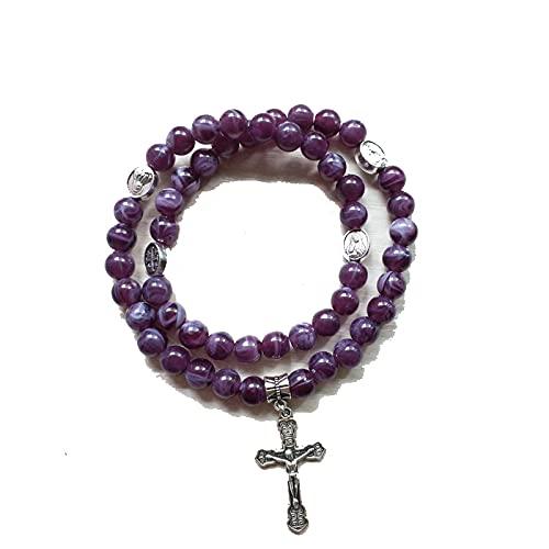SWAOOS 8mm Cuentas de acrílico Rosario Retro Cruz Colgante púrpura Doble Lazo Pulsera con Cuerda elástica católica Todo-fósforo Regalo de joyería