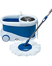 Gala Jet Spin mop with stainless steel wringer, jumbo wheels and 2 refills (White and Blue)