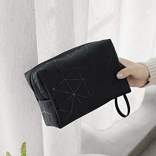 Femmes Sac cosmétiques Voyage Multifonctions Sacs de Maquillage géométrique Waterproof Portable de Toilette Organisateur Maquillage Cas (Color : Black)