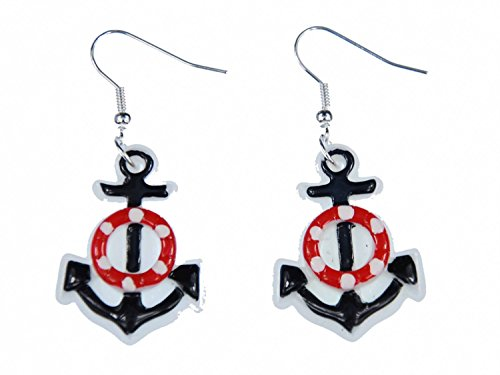 Miniblings Anker Rettungsring Ohrringe Meer Kapitän Schiff Boot Segeln maritim Kunststoff wß - Handmade Modeschmuck I Ohrhänger Ohrschmuck versilbert