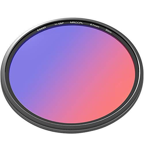 Polfilter 67mm ESDDI Zirkularer Polarisationsfilter CPL für Canon Nikon Kamera aus Schott B270 Glas mit 16 Schichten Multi-Resistenz-Beschichtung (MRC)