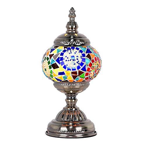 Lámpara marroquí turca, hecha a mano, con mosaico, para mesa de cristal,...