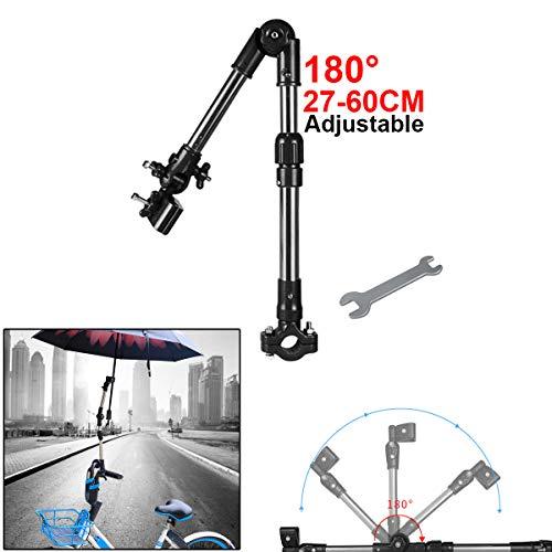 Verstellbar Reise Fahrrad Kinderwagen Regenschirm-Halterung für Fahrrad-/Motorrad-Rollstuhl/Kinderwagen mit einfachem Schraubenschlüssel, Schwarz