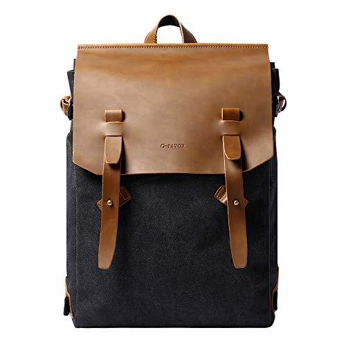 G-FAVOR Vintage PU Leder Canvas Rucksack 15,4 Zoll Laptop Rucksack für Schule Uni Büro Alltag 20-35L