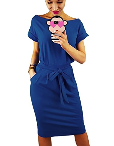 PRETTYGARDEN Women's 2020 Casual Short Sleeve Party Bodycon Sheath Belted Dress with Pockets Blue