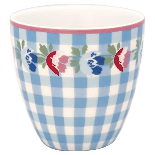 GreenGate - Espressotasse, Kaffeetasse, Mini Latte Cup - Viola - Porzellan - Check Pale Blue - 125 ml