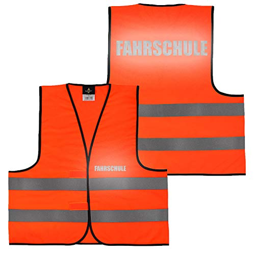 Warnweste Gelb Orange, beidseitig bedruckt auf Brust und Rücken Reflex mit Ordner, Security große Auswahl Motive Aufdrucke 027 Fahrschule (Orange) M