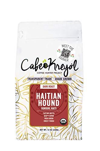 Cafe Kreyol Organic Haitian Hound | 12 oz - Haitian Blue Dark Roast Coffee - Whole Bean