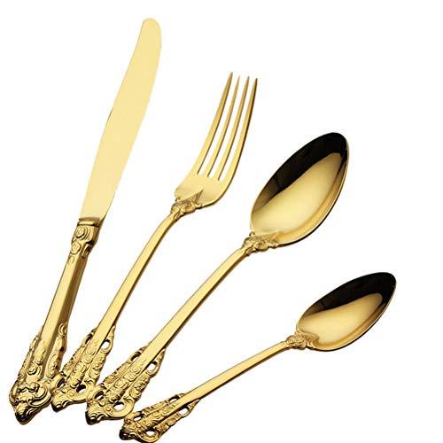 Altmodischer vergoldeter Bestecksatz fürs Abendessen, Gabel, Löffel, Messer, mit Gravur