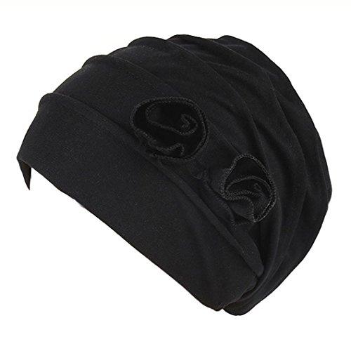 Holeider Hijab Cap, Damen Elegante Stretch Blume muslimische Kopftuch Chemo Krebs Cap Haarausfall Kopf Schal (Schwarz)