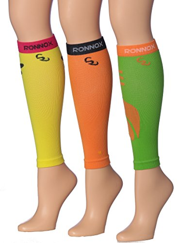 Ronnox Women's 3-Pairs Bright Colored Calf Compression Tube Sleeves (16-20 mmHg / 12-14 mmHg Great for Athletic & Medical Use