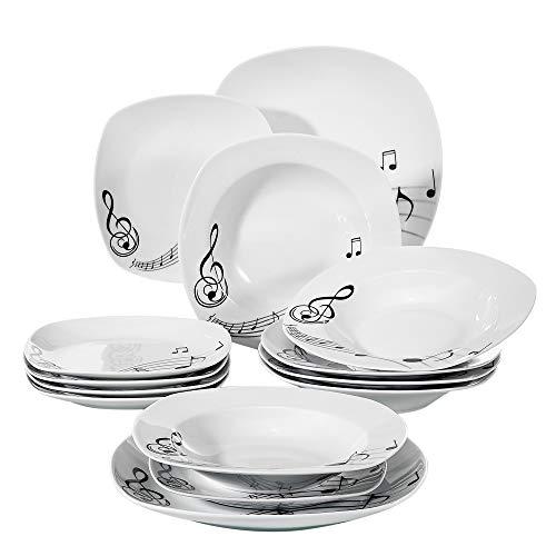 VEWEET Melody Juegos de Vajillas 18 Piezas de Porcelana con 6 Platos,...