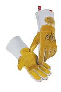 Caiman 1812-6 Extra Large Metal Inert Gas and Stick Welding Glove with Pig Grain Leather and Heat Shield Reinforcement on Back of Left Hand,Gold and Gray from Builders World Wholesale Distribution