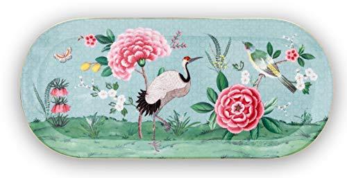 Pip Studio Tortenteller rechteckig Blushing Birds | blau - 33,3 x 15,5 cm
