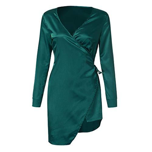 Dtuta MorgenmäNtel Damen Edel Simulation Seide Sexy GüRtel UnregelmäßIge RöCke Robe Langen Rock V-Ausschnitt Pyjama Set