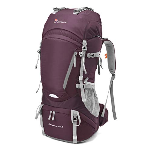 MOUNTAINTOP 50L/55L/60L/65L Internal Frame Backpack Hiking Backpack with Rain Cover (65L-Fuchsias)