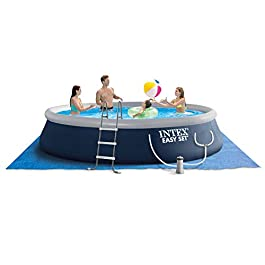 Intex 15ft x 42in Easy Setup Inflatable Above Ground Outdoor Swimming Pool with Ladder, Pump, and Cover