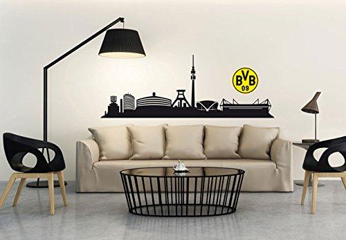 Wandtattoo BVB Skyline inkl. Logo farbig - Borussia Dortmund Wandtattoo - 120x20 cm - Wall-Art